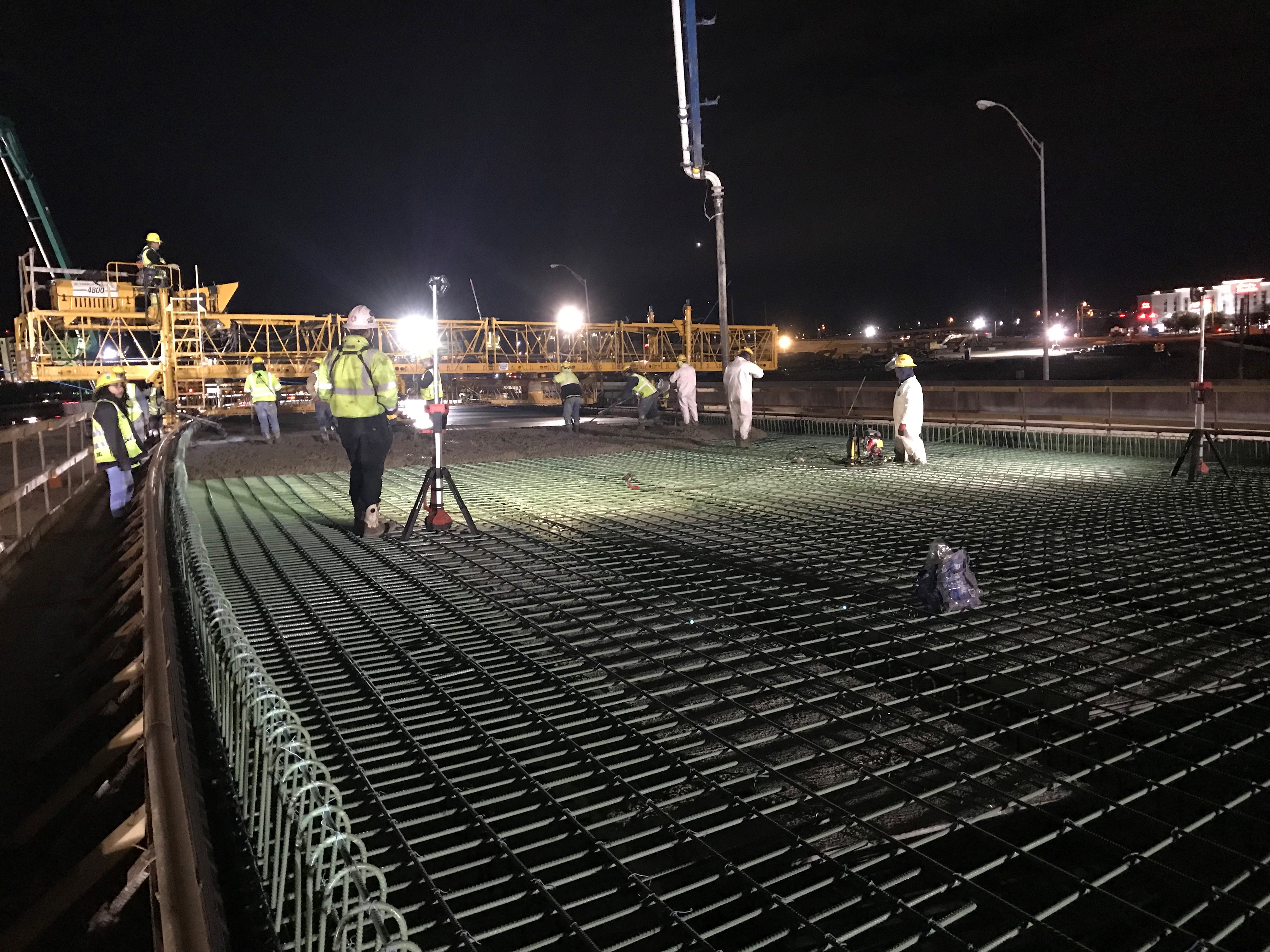 Bridge Deck Pour at Night by HVJ Engineers
