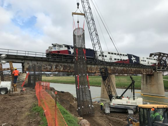 Trinity Railway Express Crossing Trinity During Construction